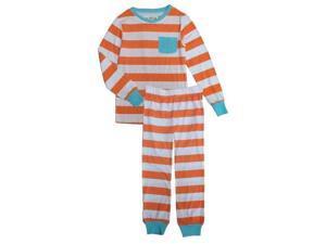 Orange White Rugby Striped Long Sleeve Top Pants Girls Pajama Set 8-10
