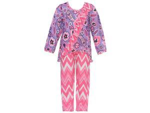 Laura Dare Little Girls Pink Lilac Paisley Chevron Long Sleeve Pajama Set 4