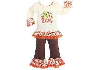 AnnLoren Big Girls Boutique Autumn Pumpkin Patch Shirt Pants Outfit 9-10