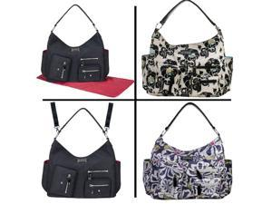 Amy Michelle Black Red Lined Lotus Bebe Stylish Satchel Diaper Bag