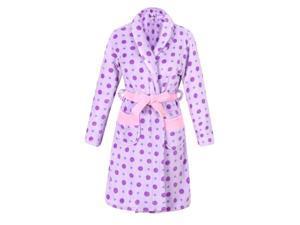 Richie House Girls Purple Polka Dot Warm and Soft Bathrobe Robe 11/12