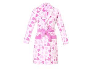 Richie House Girls Pink Hearts Warm and Soft Bathrobe 8/9