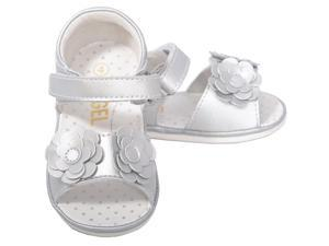 Baby Girls 1 Cute Silver Flower Strap Velcro Spring Sandals