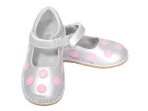 L'Amour Silver Pink Dot Mary Jane Dress Shoe Toddler Girl 9