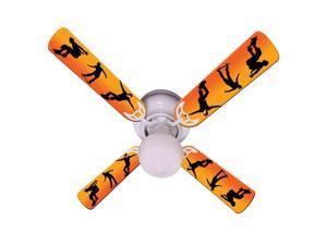 Orange Skateboarder Print Blades 42in Ceiling Fan Light Kit
