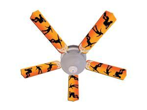 Orange Skateboarder Print Blades 52in Ceiling Fan Light Kit