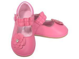 Angel Baby Girls 1 Fuchsia Jeweled Flower Mary Jane Shoes
