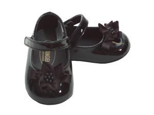 Angel Baby Girls 0 Black Patent Flower Accent Dress Shoes