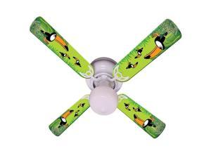 Green Toucan Print Blades 42in Ceiling Fan Light Kit