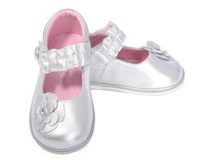 Angel Baby Girls 1 Silver Jeweled Flower Mary Jane Shoes