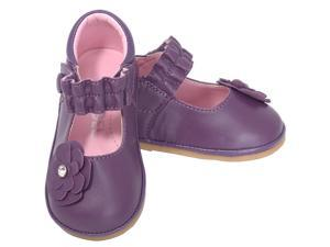 Angel Baby Girls 1 Purple Jeweled Flower Mary Jane Shoes