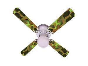 Green Camouflage Print Blades 42in Ceiling Fan Light Kit
