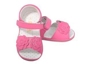 Baby Girls 1 Cute Fuchsia Flower Strap Velcro Spring Sandals