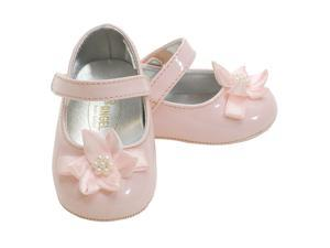 Angel Baby Girls 1 Pink Patent Flower Accent Dress Shoes