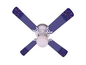 Purple Shooting Stars Print Blades 42in Ceiling Fan Light Kit