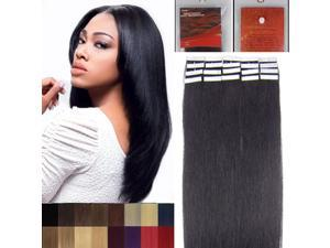 16 Inches 20pcs Straight Tape In Remy Human Hair Extensions Beauty Hair Salon Style 1b natural black 30g/pack