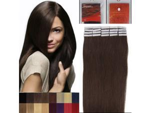 16 Inches 20pcs Straight Tape In Remy Human Hair Extensions Beauty Hair Salon Style 02 DARK BROWN 30G/PACK