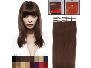 16 Inches 20pcs Straight Tape In Remy Human Hair Extensions Beauty Hair Salon Style 04 MEDIUM BROWN 30G/PACK