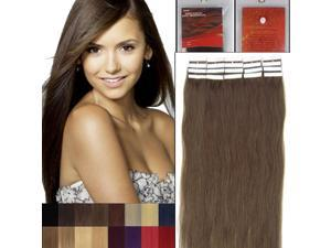 16 Inches 20pcs Straight Tape In Remy Human Hair Extensions Beauty Hair Salon Style 08 CHESTBUT BROWN 30G/PACK