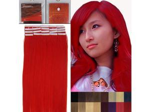 16 Inches 20pcs Straight Tape In Remy Human Hair Extensions Beauty Hair Salon Style red 30G/PACK