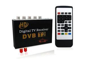 DVB-T2 HD Double Tuner Car Digital TV Receiver Set w/ Remote / Set-top Box - Black