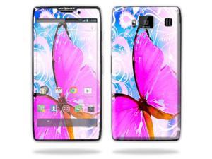 Mightyskins Protective Vinyl Skin Decal Cover for Motorola Droid Razr Maxx Android Smart Cell Phone wrap sticker skins - Pink Butterfly