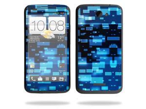 Mightyskins Protective Skin Decal Cover for HTC One X+ Plus Cell Phone AT&T wrap sticker skins Space Blocks