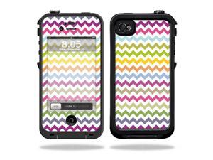 Mightyskins Protective Vinyl Skin Decal Cover for LifeProof iPhone 4 / 4S Case wrap sticker skins Rainbow Chevron