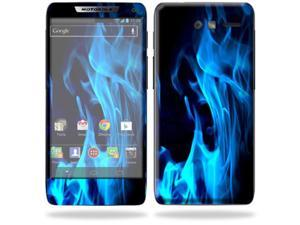 Mightyskins Protective Skin Decal Cover for Motorola Droid Razr M Cell Phone Sticker Blue Flames