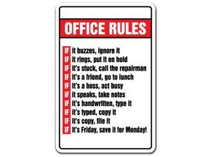 OFFICE RULES Novelty Sign gift boss Monday Friday employee gag funny workplace