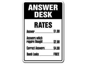 ANSWER DESK Novelty Sign questions directions gift answerman what answering