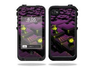 Mightyskins Protective Vinyl Skin Decal Cover for LifeProof iPhone 4 / 4S Case wrap sticker skins Purple Blocks