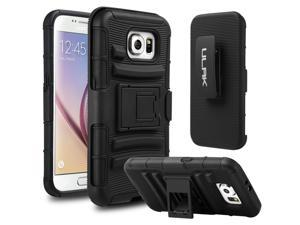 ULAKDual Black Layer Holster Case with Kick Stand and Locking Belt Swivel Clip for Samsung Galaxy S6