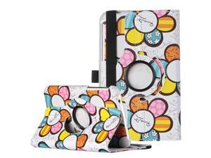ULAK 360 Rotating Synthetic Leather Case Stand Cover For Samsung Galaxy Tab 3 7.0 inch P3200-White Sunflower
