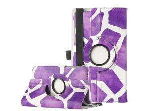 ULAK 360 Rotating Synthetic Leather Case Stand Cover For Samsung Galaxy Tab 3 7.0 inch P3200-Purple Giraffe