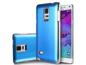 Note 4 Case, Galaxy Note 4 Case, ULAK Samsung Galaxy Note 4 Case Brushed Chrome Steel Aluminum Plastic Cover Case for Galaxy Note 4 (2014) (Blue)