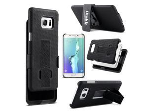 ULAK S6 Edge Plus Case, Shell Holster Combo Protective Case with Kick-Stand Belt Clip Holster For Samsung Galaxy S6 Edge Plus (Black)