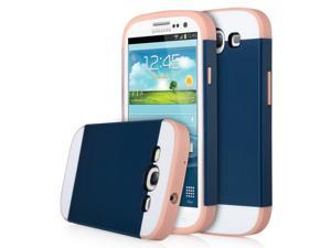ULAK Galaxy S3 Case, Hybrid Slim Hard Back Case Cover Rubber Bumper for Samsung Galaxy S3 I9300 Rigid Plastic Shell + TPU 2in1 Daul Layer w/ Card Storage (Coral Pink/Navy Blue)