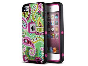iPod Touch 6th Generation Case,iPod 5 case,ULAK [ 3 in 1 Shield Series ]  Shock Absorption Hybrid Silicon Case Hard Cover for Apple iPod Touch 5 & 6th Generation (Rose Pink/Black)