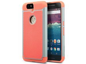 ULAK Google Nexus 6P Case, Heavy Duty Rugged Hybrid Cases Protective Skins Shock-Absorption/Impact Resistant Hard Bumper Cover for Google Huawei (2015 Release) ((Gray/Coral Pink))