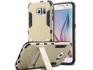 ULAK Galaxy S6 Case, Hybird Rubber Case Slim Shock Absorption Protection Cover for Samsung Galaxy S6 with Kick-Stand Feature (Gold)