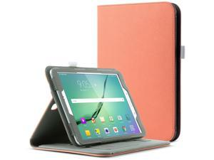 ULAK Galaxy Tab S2 Case, Magnetically Removable Bluetooth Keyboard Synthetic Leather Smart Cases Wake/Sleep Feature W/ Hand Strap & Card Slots Cover for Samsung Galaxy Tab S2 9.7 inch - Coral Pink