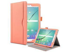 ULAK Galaxy Tab S2 Case Synthetic Leather Stand auto Sleep/Wake Design Card Pocket with Hand Strap Folio Case Cover for 2015 Samsung Galaxy Tab S2 Tablet (9.7 inch, SM-T810 T815) - Coral Pink