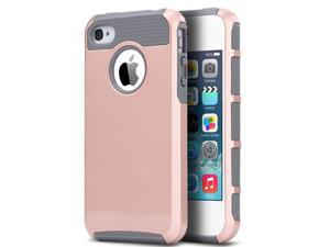 ULAK iPhone 4S 4 Slim Case,Rugged Shockproof Dual Layer Slim Hybrid Hard Shell for iPhone 4S & iPhone 4 with Hard PC and Soft Inner TPU (Rose Gold/Grey)