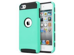 iPod Touch 6 Case,iPod Touch 5 Case,ULAK [Colorful Series] Slim Fit Protective iPod Touch Case 2-Piece Style Hybrid Hard Case Cover for Apple iPod touch 5 6th Generation ,Aqua Mint + Black