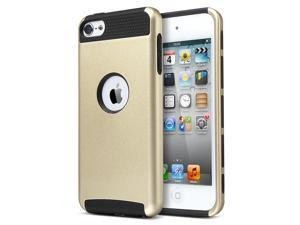 iPod Touch 6 Case,iPod Touch 5 Case,ULAK [Colorful Series] Slim Fit Protective iPod Touch Case 2-Piece Style Hybrid Hard Case Cover for Apple iPod touch 5 6th Generation ,Champagne Gold + Black
