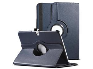 ULAK Smart Shell Case 360 Degree Rotating Folio Smart PU Leather Cover Case - Slim Lightweight Stand Cover with Auto Sleep/Wake Feature for Samsung Galaxy Tab 3 10.1 P5200 (2013 Released) Navy Blue