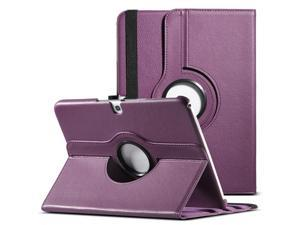 ULAK Smart Shell Case 360 Degree Rotating Folio Smart PU Leather Cover Case - Slim Lightweight Stand Cover with Auto Sleep/Wake Feature for Samsung Galaxy Tab 3 10.1 P5200 (2013 Released) -Purple