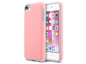 iPod Touch 6 Case,ULAK Slim-Protection SLICK ARMOR Hybrid Dual Layer Shockproof Hard Case Cover for Apple iTouch 6 5th Generation (Baby Pink+Grey)