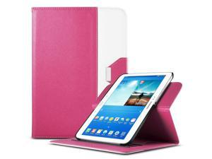 ULAK Smart Shell Case 360 Degree Rotating Folio Smart PU Leather Cover Case-Slim Lightweight Stand Cover with Auto Sleep/Wake Feature for Samsung Galaxy Tab 3 10.1 P5200(2013)(Rotating-Rose Red+White)
